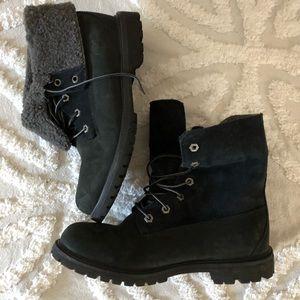 Black Timberland combat boots